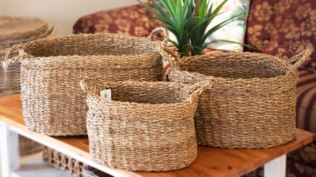 Set of 3 Oval Folded Rim Seagrass Storage Baskets