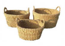 Load image into Gallery viewer, Set of 3 Oval Folded Rim Seagrass Storage Baskets