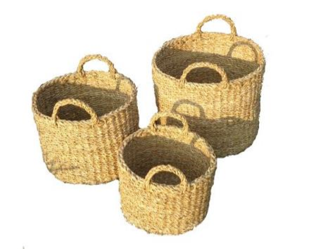 Set of 3 Round Seagrass Storage Cylinders with Handles