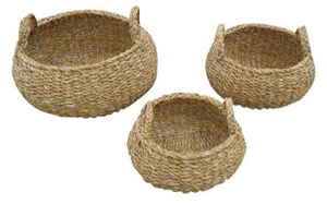 Set of 3 Small Round Seagrass Storage Pods