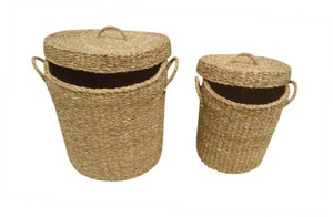 Set of 2 Tall Round Seagrass Containers with Lids