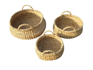 Set of 3 Large Round Seagrass Storage Pods