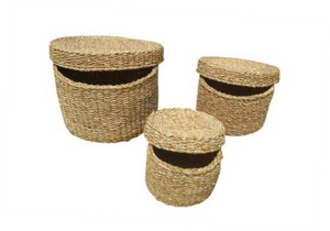 Set of 3 Round Seagrass Containers with Lids.  BDH34
