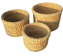 Load image into Gallery viewer, Set of 3 Round Folded Rim Seagrass Planters