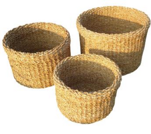 Set of 3 Round Folded Rim Seagrass Planters