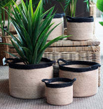 Load image into Gallery viewer, Set of 5 Jute Natural Round Storage Cylinders with Black Border