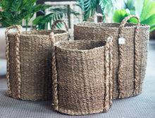 Load image into Gallery viewer, Set of 3 Large Round Seagrass Log/Utility Baskets