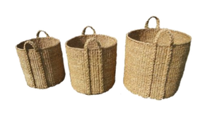 Set of 3 Large Round Seagrass Log/Utility Baskets