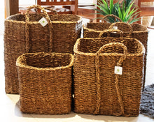 Load image into Gallery viewer, Set of 4 Large Square Seagrass Log/Utility Baskets