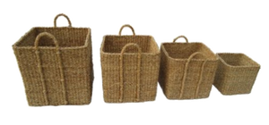 Set of 4 Large Square Seagrass Log/Utility Baskets