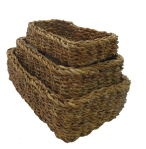 Set of 3 Seagrass Rectangle Trays