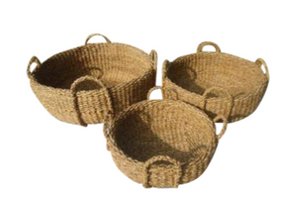 Set of 3 Large Round Seagrass Deck Baskets
