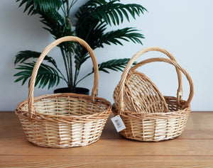 Set of 3 Willow Round Natural Carry Baskets