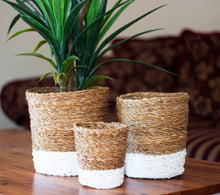 Load image into Gallery viewer, Set of 3 Round White Dipped Seagrass Planters