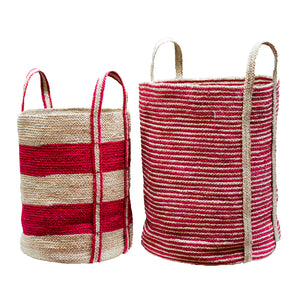 Set of 2 Jute Red Striped Cylinders