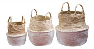 Set of 3 Jute White Dipped Foldable Storage Pods