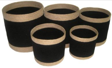 Set of 5 Jute Black Round Planters with Natural Border