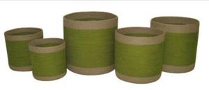 Set of 5 Jute Green Round Planters with Natural Border