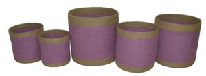 Set of 5 Jute Purple Round Planters with Natural Border