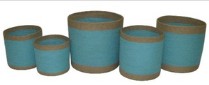 Set of 5 Jute Sky Blue Round Planters with Natural Border