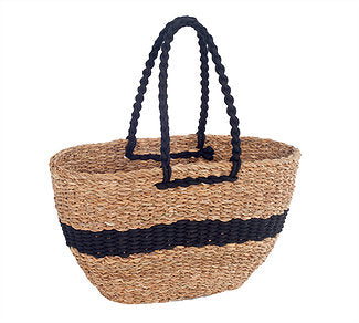 Anglesea Seagrass Shopper Black Stripe
