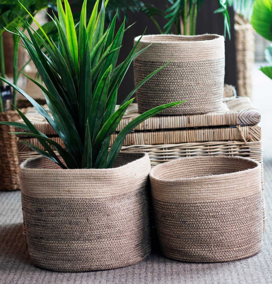 Set of 3 Jute Natural Round Planters Black Stitch