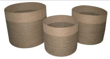Load image into Gallery viewer, Set of 3 Jute Natural Round Planters Black Stitch