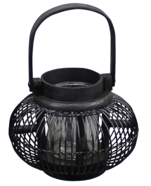 Wooden Black Round Sided Lantern