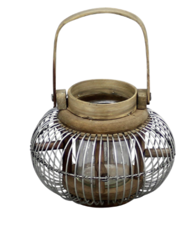 Wooden Natural Round Sided Lantern.