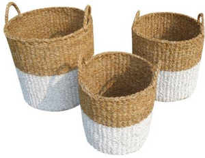Set of 3 White Dipped Round Seagrass Storage Cylinders