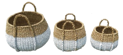 Set of 3 White Dipped Round Seagrass Belly Baskets