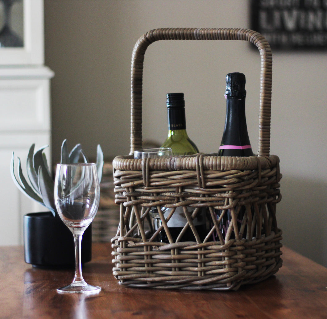 Rattan Kubu Grey Wine Carrier