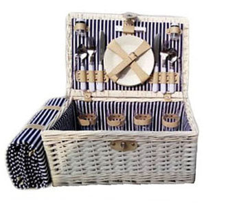 Willow White 4 Person Fitted Picnic Hamper with Rug