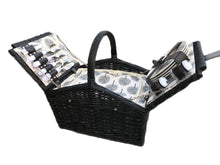 Load image into Gallery viewer, Willow Black 4 Person Fitted Picnic Hamper