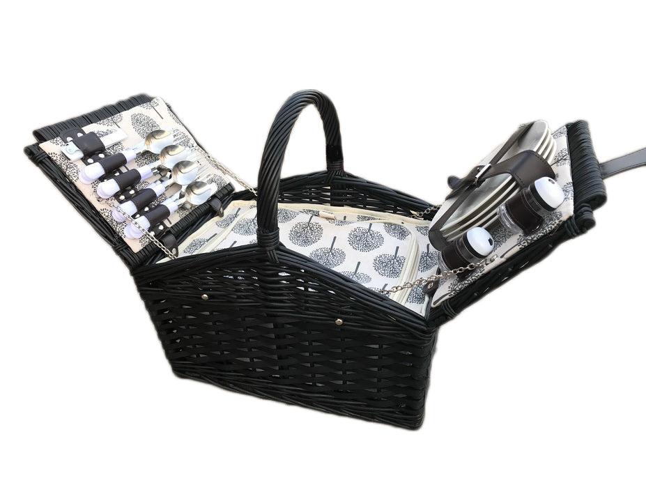 Willow Black 4 Person Fitted Picnic Hamper