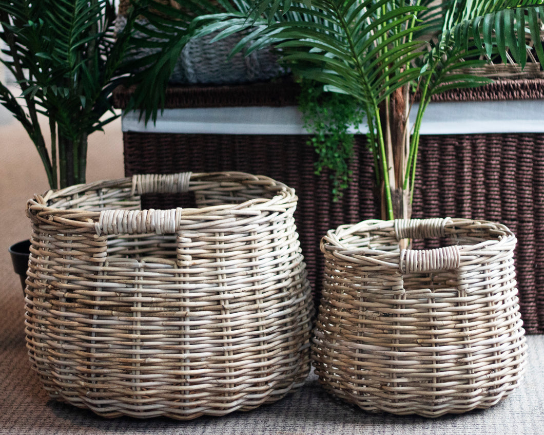 Kubu French Set of 2 Rattan Belly Baskets