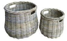 Load image into Gallery viewer, Kubu French Set of 2 Rattan Belly Baskets
