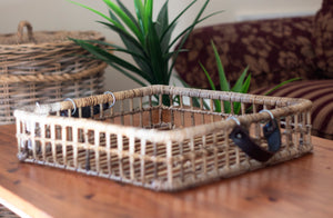 Barossa Kubu Grey Rattan Open Weave Square Tray