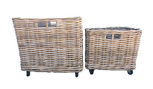 Load image into Gallery viewer, Lonsdale Set of 2 Rollaway Kubu Grey Rattan Storage Baskets on Casters