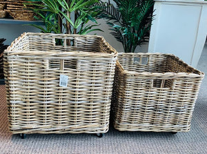 Lonsdale Set of 2 Rollaway Kubu Grey Rattan Storage Baskets on Casters