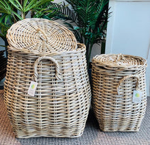 Load image into Gallery viewer, Kubu French Set of 2 Rattan Lidded Belly Baskets