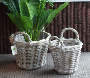Sorrento Set of 2 White Washed Rattan Planters