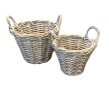 Load image into Gallery viewer, Sorrento Set of 2 White Washed Rattan Planters