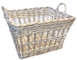 Sorrento White Washed Rattan Open Weave Utility Basket
