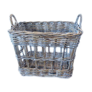 Sorrento White Washed Rattan Open Weave Storage Basket