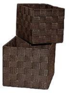 Nylon Weave Set of 2 Brown Rectangle Storage Boxes