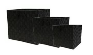 Nylon Weave Set of 3 Black Storage Cubes