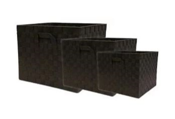 Nylon Weave Set of 3 Brown Storage Cubes
