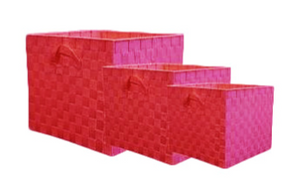 Nylon Weave Set of 3 Rose Storage Cubes