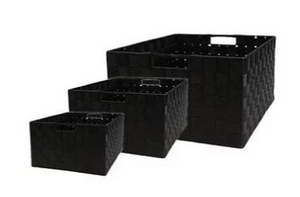 Nylon Weave Set of 3 Black Rectangular Storage Boxes